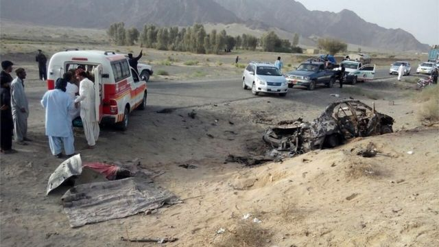 The purported site of the drone strike said to have killed Mullah Akhtar Mansour in the Ahmad Wal area of Balochistan in Pakistan (21 May 2016)