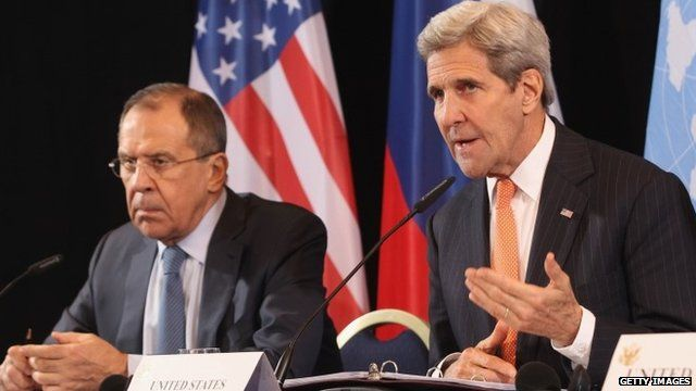 Russian Foreign Minister Sergei Lavrov (left) and US Secretary of State John Kerry