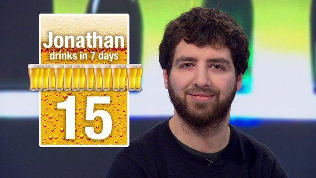 Jonathan's weekly alcohol consumption