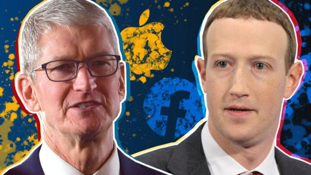 El presidente ejecutivo de Apple, Tim Cook, y el fundador de Facebook, Mark Zuckerberg