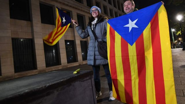 Brüksel'deki Katalan bağımsızlık yanlıları.