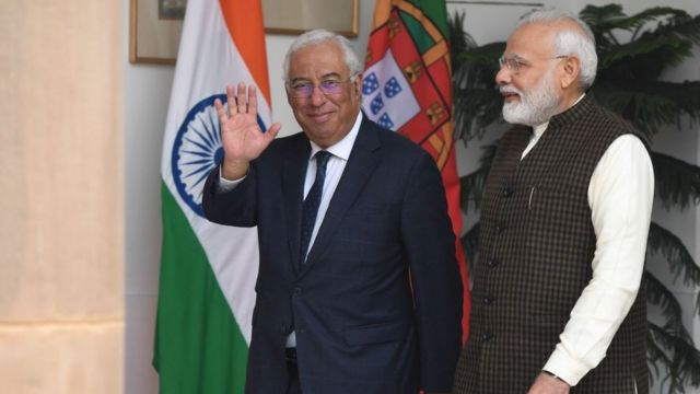 दिल्ली में नरेंद्र मोदी के साथ एंटोनियो कोस्टा