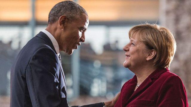 استقبلت ميركل أوباما في برلين عام 2016