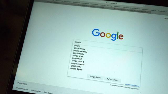 Tela de computador mostrando o Google