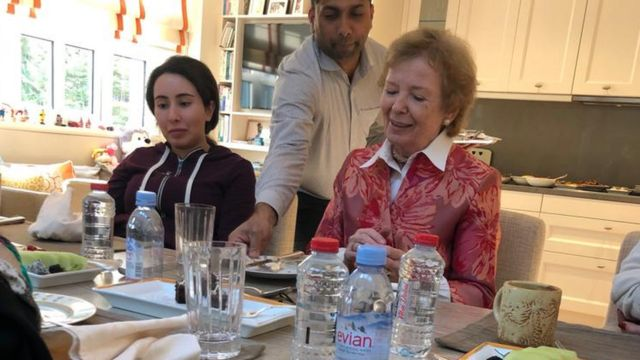 Princess Latifa pictured with Mary Robinson in December 2018.