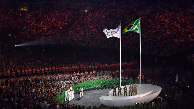 Stade de Maracana lors de la cérémonie d'ouverture des JO de Rio 2016.