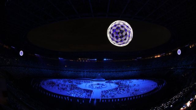 Drones fly over the stadium during the Opening Ceremony of the Tokyo 2020 Olympic Games at Olympic Stadium on July 23, 2021 in Tokyo, Japan.