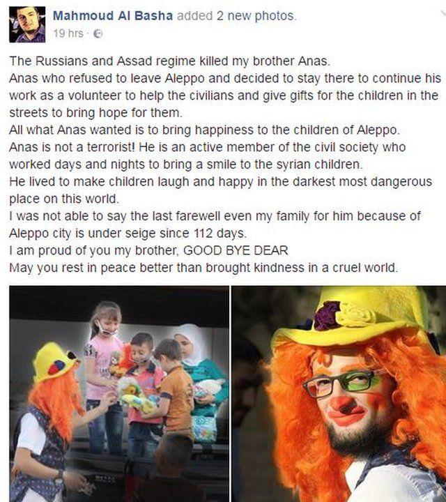 A Facebook post by Mahmoud al-Basha about the loss of Anas al-Basha