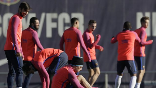 جانب من تدريبات برشلونة لمباراة السبت