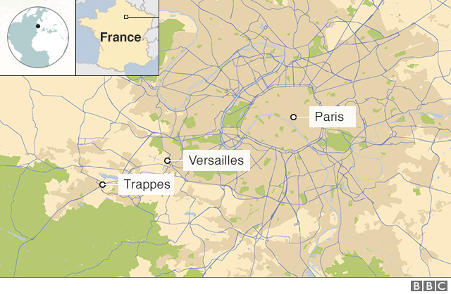 Map showing the suburb of Trappes, on the outskirts of Paris