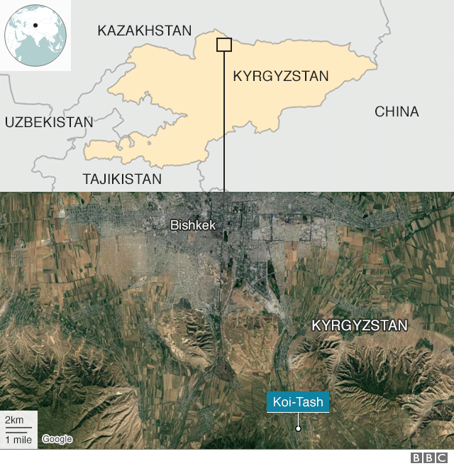 A map shows Kyrgyzstan in relation to China, India, and its neighbours, with Bishek, the capital, marked