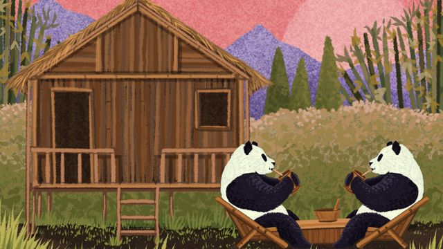 Ilustración de dos pandas tomando té frente a una casa hecha de bambú