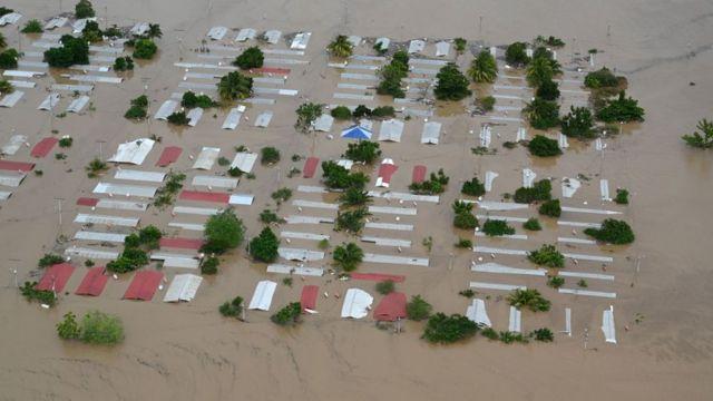 Pueblo inundado en Honduras.
