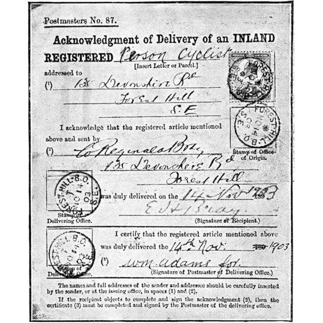 Почтовое извещение о пересылке Брэя от 1903 года (из журнала Royal Magazine за 1904 год)