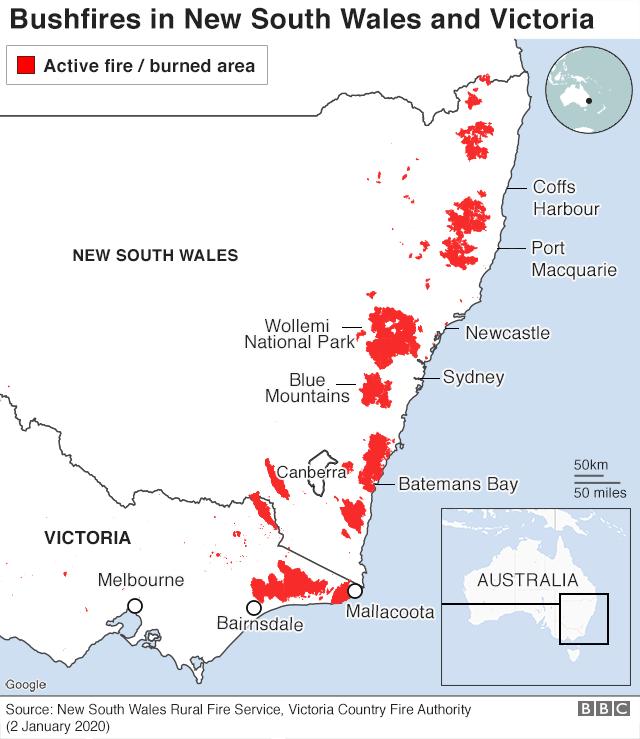 Bushfires map