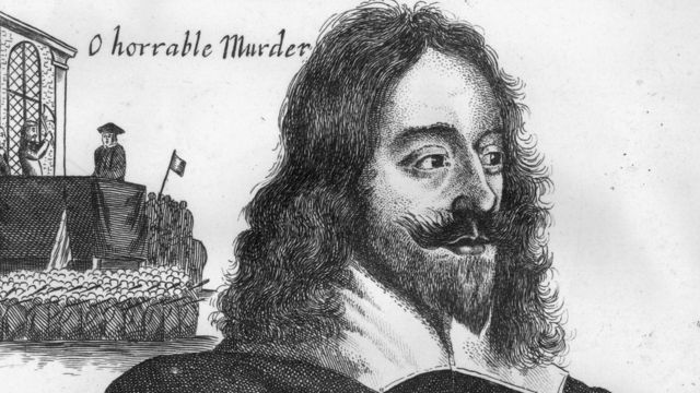 Гравюра: голова Карла I на фоне плахи