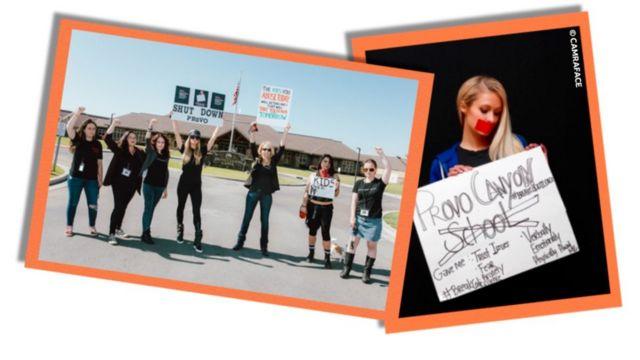 Imagens mostram Paris Hilton ao lado de outros manifestantes do lado de fora do Provo Canyon e, em outra, aparece segurando um cartaz com fita vermelha sobre a boca