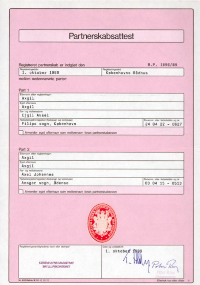 Certificado de matrimonio de Axel y Eigil Axgil