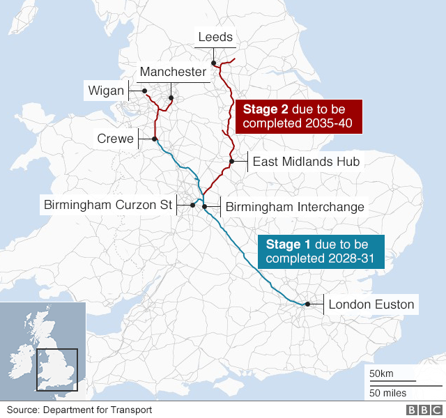 Route map of HS2