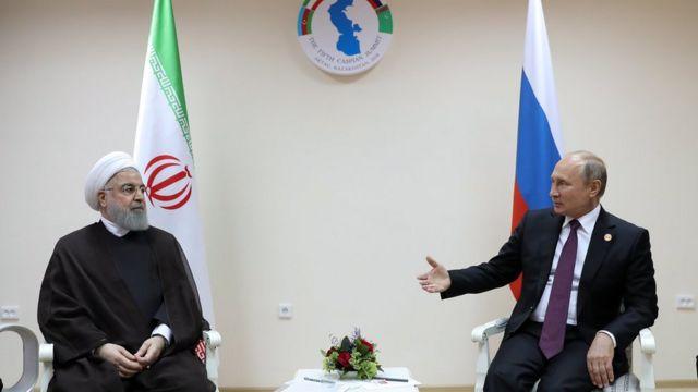 دیدار روسای جمهور روسیه و ایران پس از امضای کنوانسیون جدید رژیم حقوقی دریای خزر از سوی کشورهای ساحلی در قزاقستان