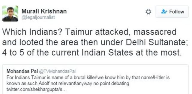 Which Indians? Taimur attacked, massacred and looted the area then under Delhi Sultanate; 4 to 5 of the current Indian States at the most.