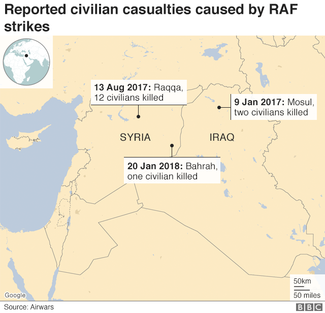 Reported civilian casualties caused by RAF strikes