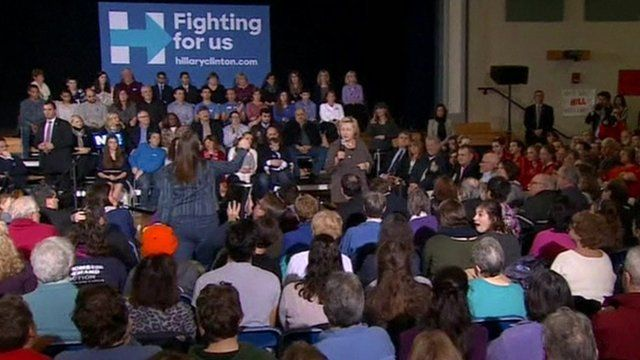 Hillary Clinton is heckled at an event in New Hampshire