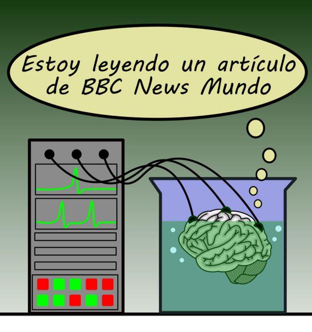 Dibujo de cerebro en cubeta conectado a computador