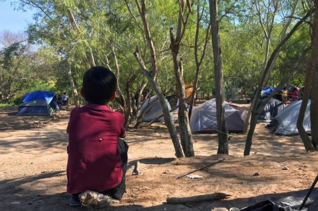 Campamento de migrantes en Tamaulipas.