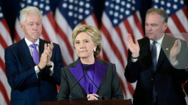 Hillary Clinton durante su discurso tras perder las elecciones presidenciales.