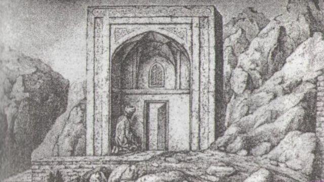 Бабурдун же Тахти-Сулейман мечит, сүрөтчү М. Мюллердин литографиясы