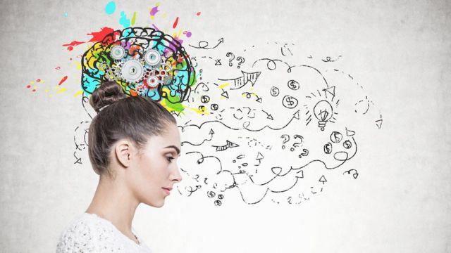 Imagem mostra perfil de mulher e a ilustração de um cérebro ao lado dela
