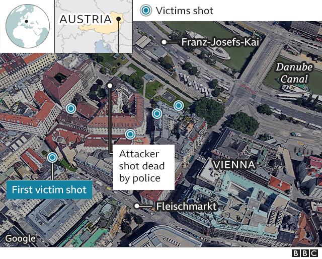 Map showing Vienna attacks