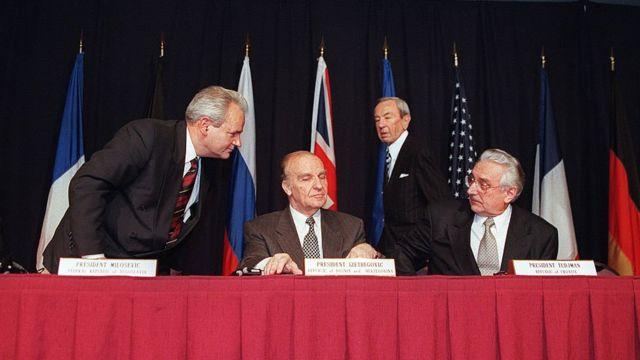 Slobodan Milosevic, Franjo Tudjman and Alija Izetbegović.