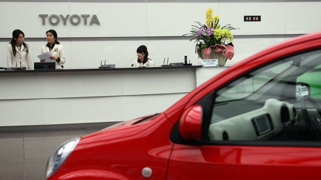 A car is on display at Toyota Motor Corporation's Tokyo headquarters