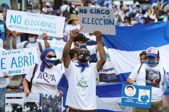 Una protesta contra el sistema electoral de Nicaragua