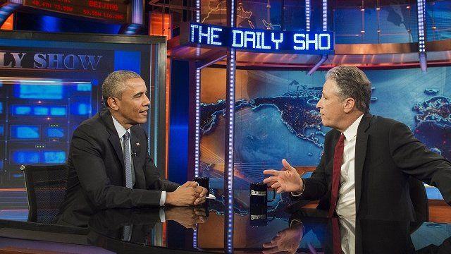 Jon Stewart and Barack Obama