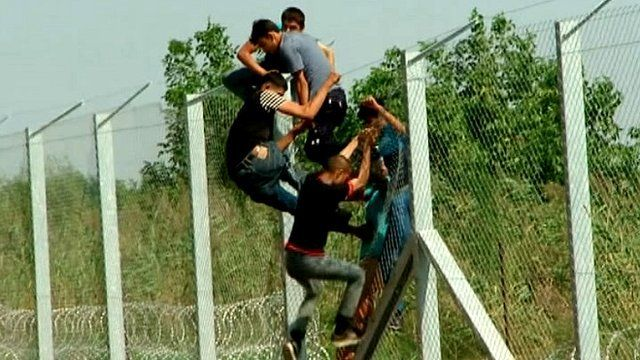Young men climb over the border fence dividing Serbia and Hungary to enter the EU.