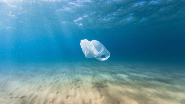 A plastic bag drifts in the clear blue ocean as a result of human pollution.