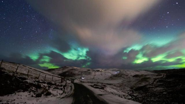 Aurora, Brae, en Shetland