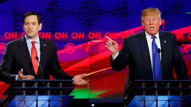 マーコ・ルビオ上院議員(左)とドナルド・トランプ氏が互いをかき消すように同時に熱弁