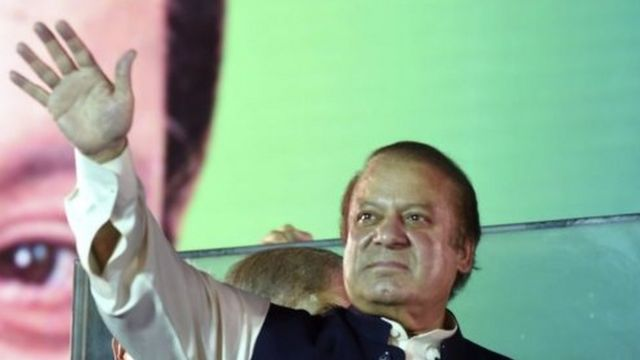 Former PM Nawaz Sharif at the end of a four-day PML-N rally in Lahore (12 August 2017)