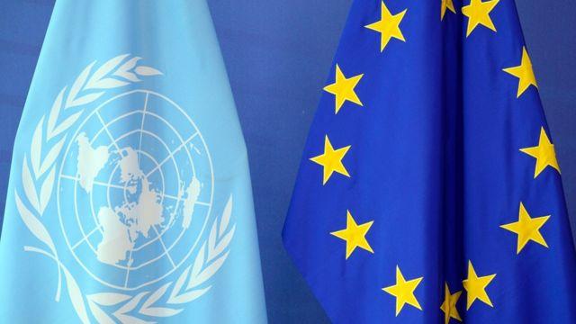 AB ve BM bayrağı