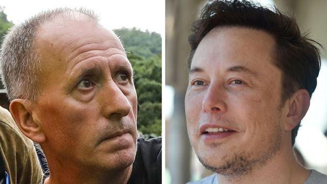 Montagem de imagens Vernon Unsworth e Elon Musk