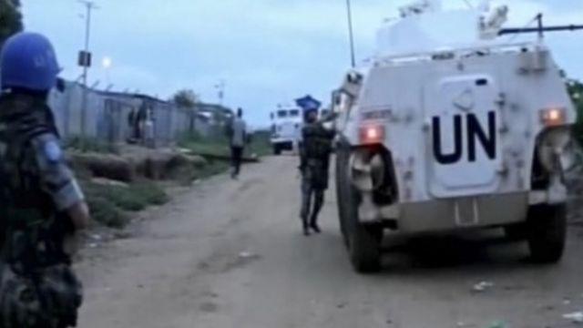 武装した国連部隊(ジュバで)