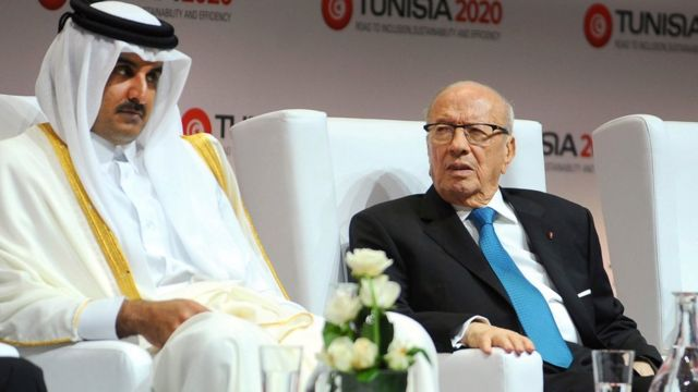 أمير قطر تميم بن حمد أل ثاني، والرئيس التونسي باجي قاد السبسي