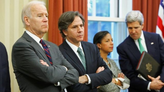 Vice-President Joe Biden, Anthony Blinken, Susan Rice and John Kerry at President Obama's news conference with the Iraqi PM in 2013