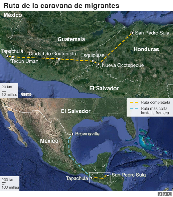 Mapa de la caravana de migrantes