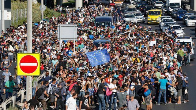Migrants walk out of Budapest, Hungary