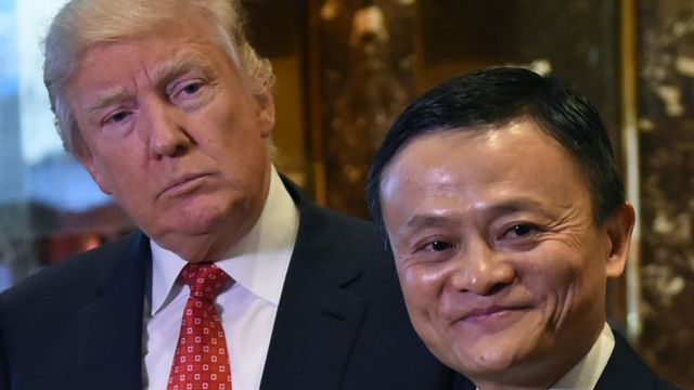 Jack Ma and then President-elect Donald Trump